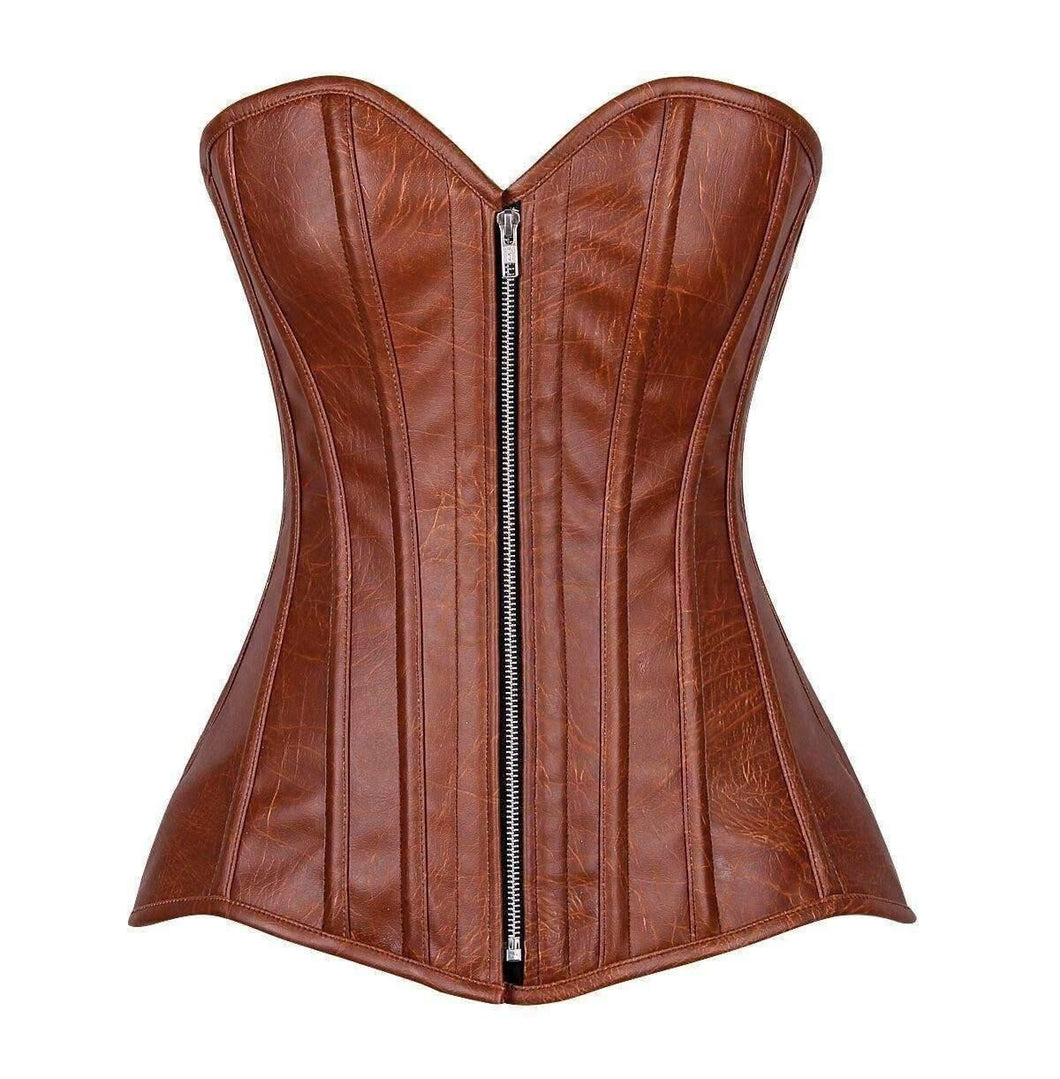 Daisy Corsets Top Drawer Distressed Brown Faux Leather Steel Boned Corset-Corsets-Daisy Corsets-Unspoken Fashion