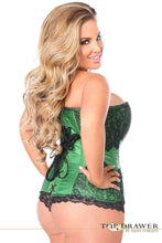 Load image into Gallery viewer, Daisy Corsets Top Drawer Emerald Brocade Steel Boned Corset w/Black Eyelash Lace-Corsets-Daisy Corsets-Unspoken Fashion