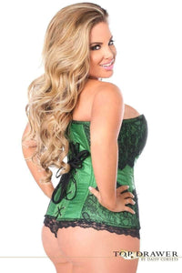 Daisy Corsets Top Drawer Emerald Brocade Steel Boned Corset w/Black Eyelash Lace-Corsets-Daisy Corsets-Unspoken Fashion