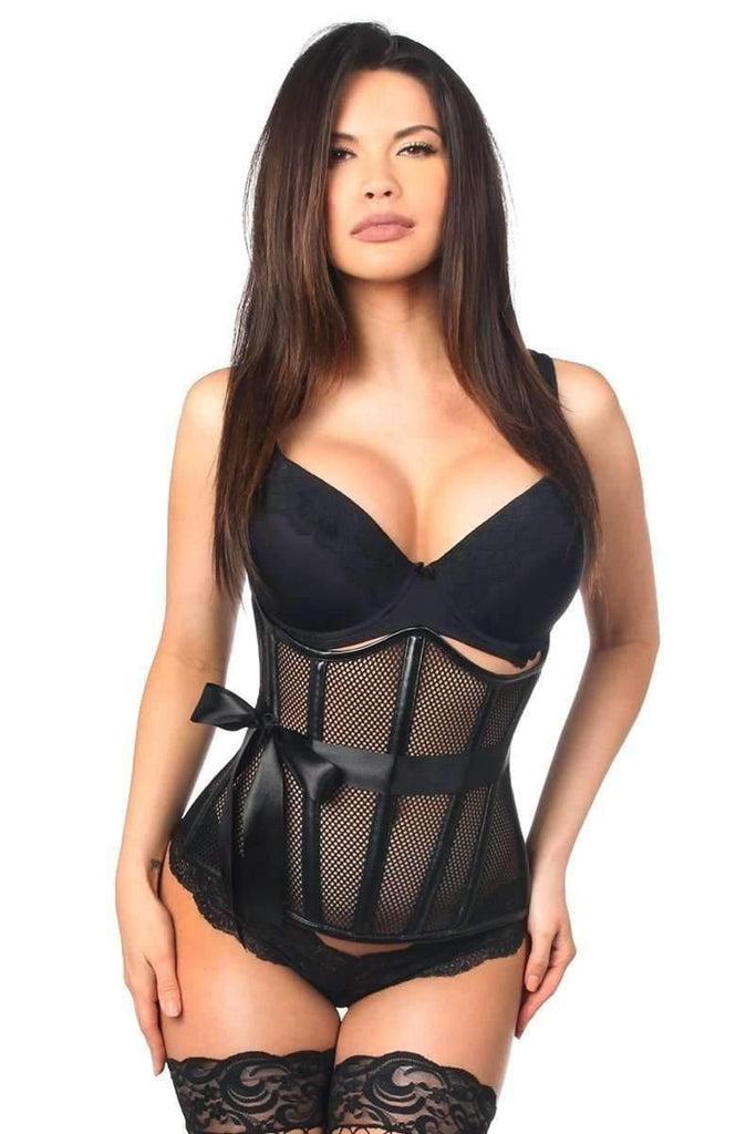 Daisy Corsets Top Drawer Fishnet & Faux Leather Steel Boned Underbust Corset-Corsets-Daisy Corsets-Unspoken Fashion