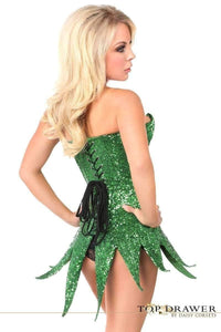 Daisy Corsets Top Drawer Green Sequin Steel Boned Corset Dress-Corseted Dresses-Daisy Corsets-Unspoken Fashion