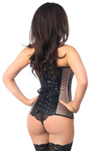 Load image into Gallery viewer, Daisy Corsets Top Drawer Gunmetal Brocade & Faux Leather Steel Boned Corset-Corsets-Daisy Corsets-Unspoken Fashion
