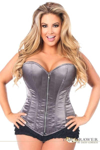 Daisy Corsets Top Drawer Gunmetal Satin Steel Boned Corset-Corsets-Daisy Corsets-Unspoken Fashion