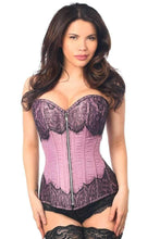 Load image into Gallery viewer, Daisy Corsets Top Drawer Light Purple Brocade Steel Boned Corset w/Black Eyelash Lace-Corsets-Daisy Corsets-S-Light Purple-Unspoken Fashion