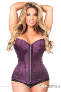 Daisy Corsets Top Drawer Plum Brocade Steel Boned Corset-Corsets-Daisy Corsets-Unspoken Fashion