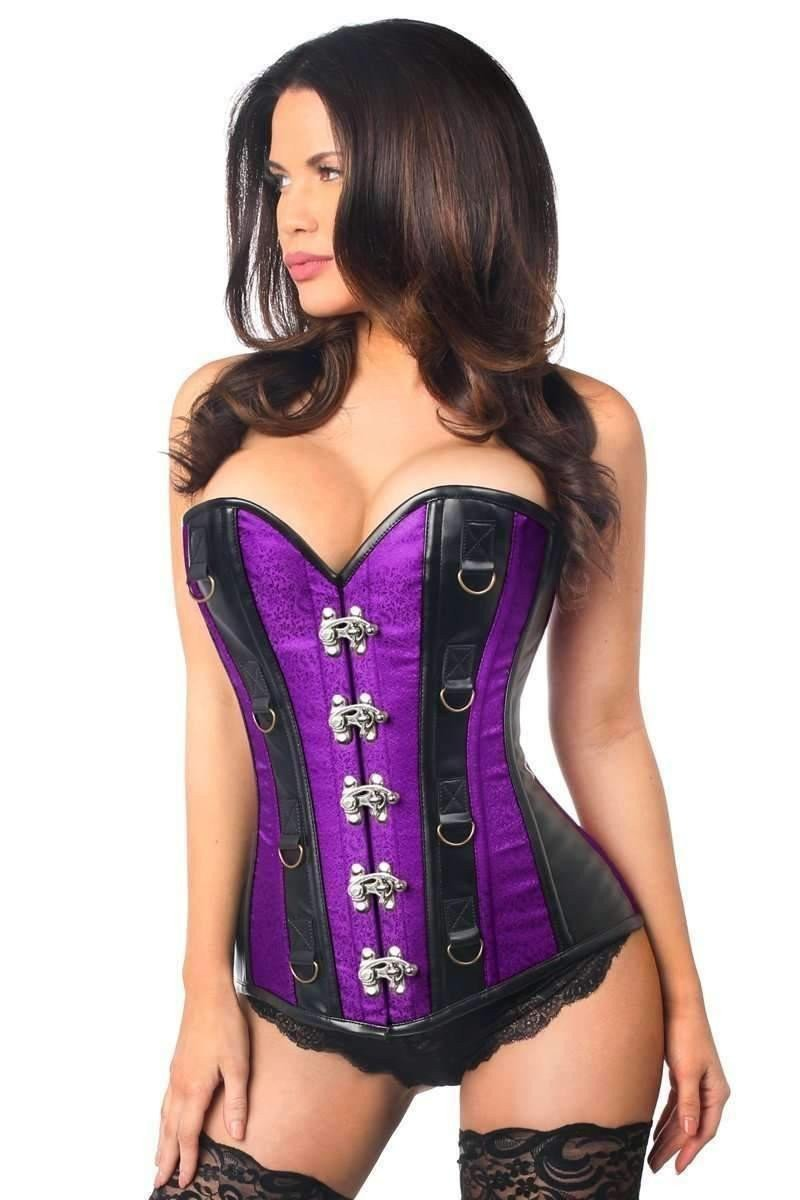 Daisy Corsets Top Drawer Plus Size Purple Brocade & Faux Leather Steel Boned Corset-Corsets & Bustiers-Daisy Corsets-Unspoken Fashion