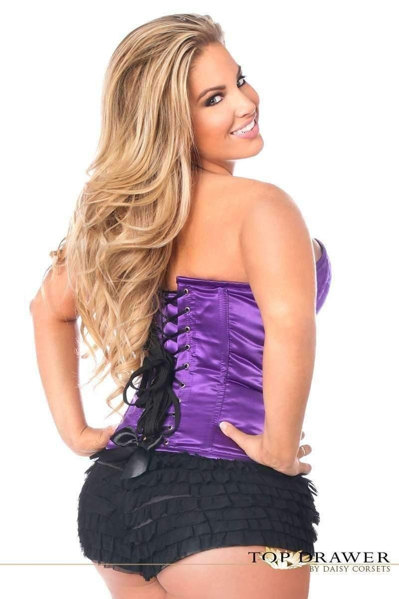 Daisy Corsets Top Drawer Purple Satin Steel Boned Corset-Corsets & Bustiers-Daisy Corsets-Unspoken Fashion