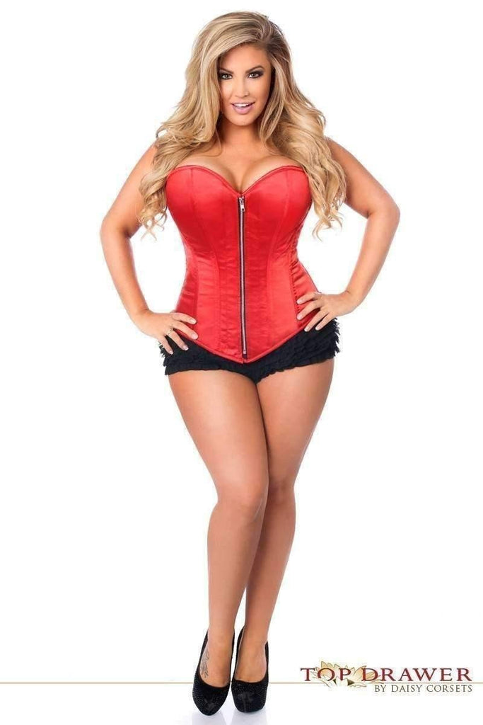 Daisy Corsets Top Drawer Red Satin Steel Boned Corset-Corsets-Daisy Corsets-Unspoken Fashion