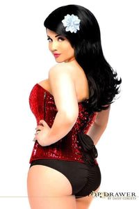 Daisy Corsets Top Drawer Red Sequin Steel Boned Corset-Corsets-Daisy Corsets-Unspoken Fashion