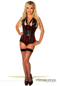 Daisy Corsets Top Drawer Red Velvet Steel Boned Underbust Corset-Corsets-Daisy Corsets-Unspoken Fashion