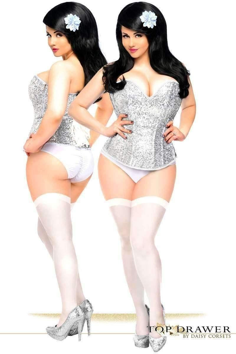 Daisy Corsets Top Drawer Silver Sequin Steel Boned Corset-Corsets-Daisy Corsets-Unspoken Fashion