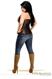 Daisy Corsets Top Drawer Steel Boned Distressed Faux Leather Underbust Corset Top-Corsets-Daisy Corsets-Unspoken Fashion