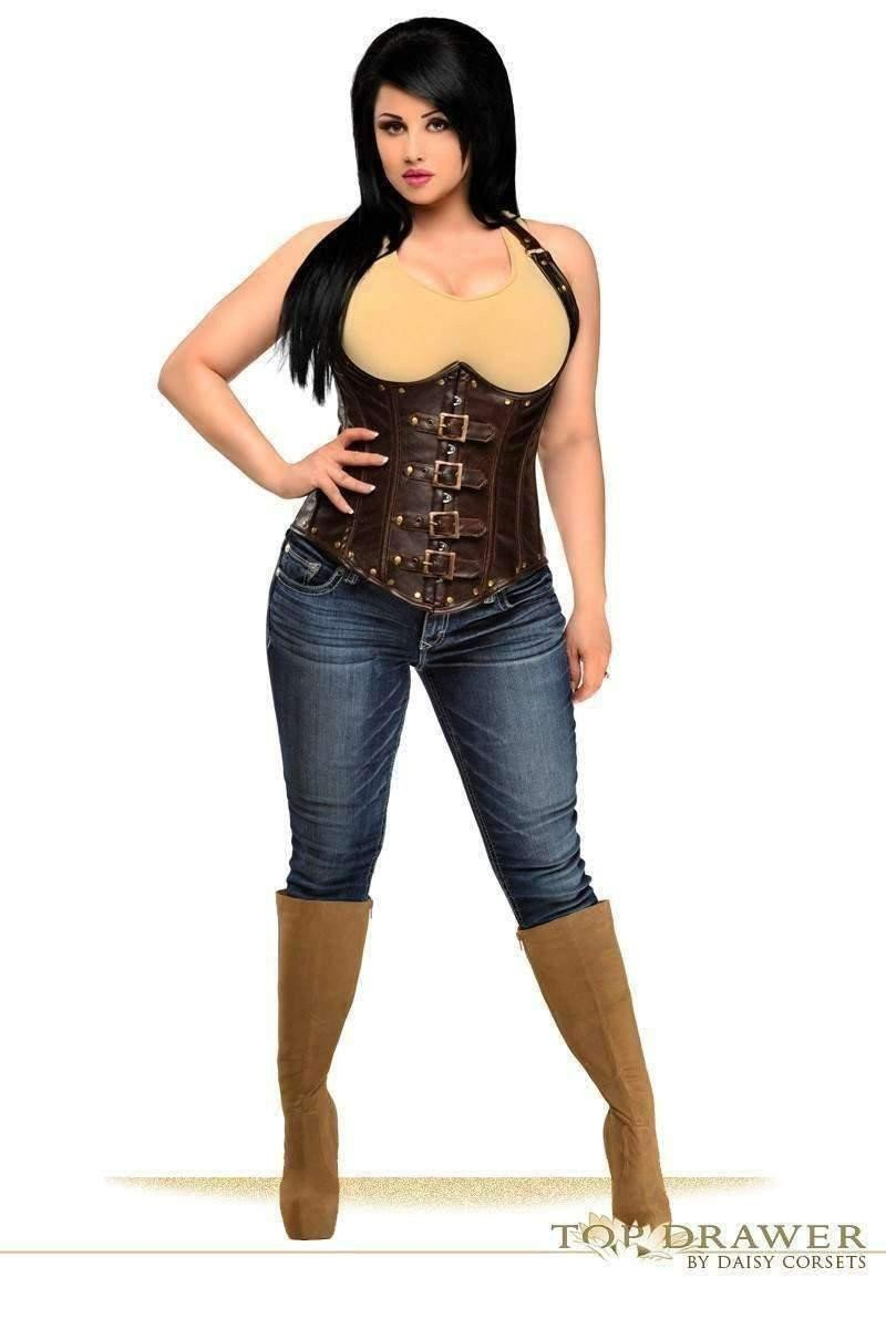 Daisy Corsets Top Drawer Steel Boned Distressed Faux Leather Underbust Corset Top-Corsets-Daisy Corsets-S-Brown-Unspoken Fashion