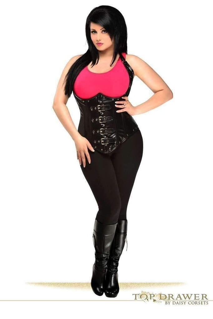 Daisy Corsets Top Drawer Steel Boned Faux Leather Underbust Corset Top-Corsets-Daisy Corsets-S-Black-Unspoken Fashion
