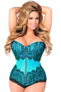 Daisy Corsets Top Drawer Teal Brocade Steel Boned Corset w/Black Eyelash Lace-Corsets-Daisy Corsets-Unspoken Fashion
