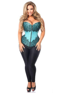 Daisy Corsets Top Drawer Teal Brocade Steel Boned Corset w/Black Eyelash Lace-Corsets-Daisy Corsets-S-Teal-Unspoken Fashion