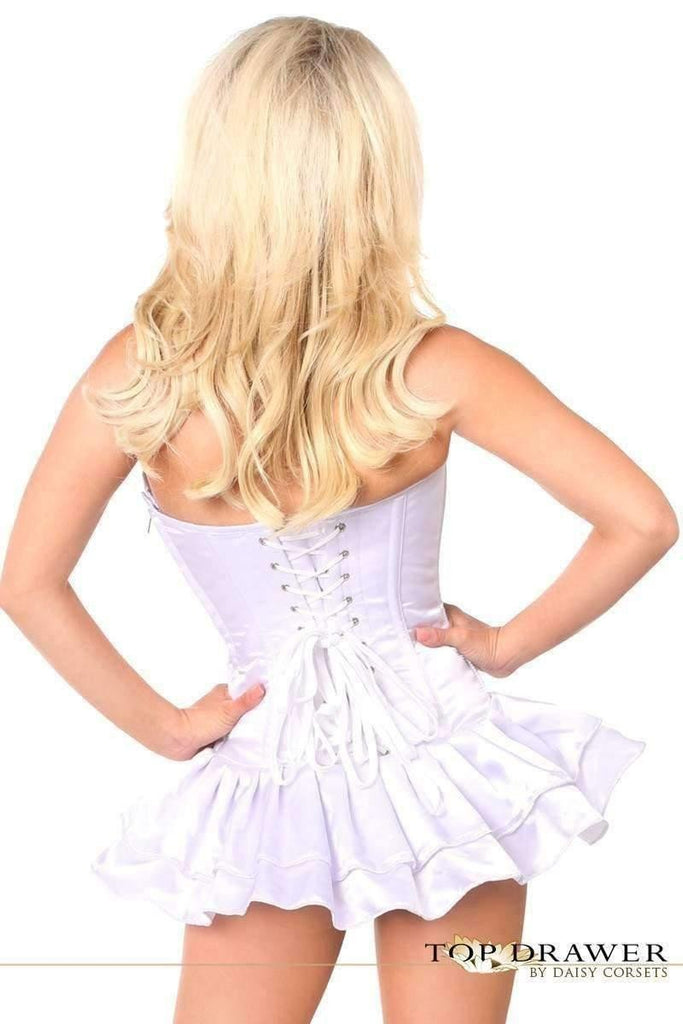 Daisy Corsets Top Drawer White Satin Steel Boned Corset Dress-Corseted Dresses-Daisy Corsets-Unspoken Fashion