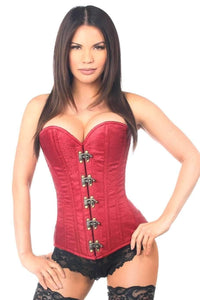 Daisy Corsets Top Drawer Wine Brocade Steel Boned Corset w/Clasp Closure-Corsets-Daisy Corsets-Unspoken Fashion
