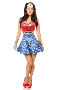 Daisy Lavish 3 PC Superhero Corset Dress Costume-Costumes-Daisy Corsets-S-Red-Unspoken Fashion