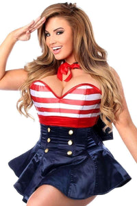 Daisy Top Drawer 2 PC Pin-Up Sailor Plus Size Corset Dress Costume-Costumes-Daisy Corsets-Unspoken Fashion