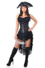Load image into Gallery viewer, Daisy Top Drawer 4 PC Black Pirate Captain Corset Costume-Costumes-Daisy Corsets-S-Black-Unspoken Fashion