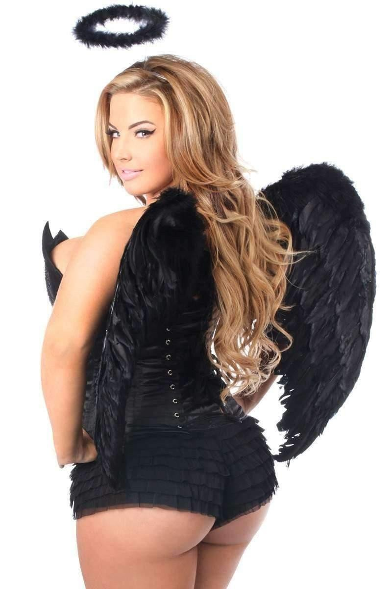 Daisy Top Drawer 4 PC Sequin Black Angel Corset Costume-Costumes-Daisy Corsets-Unspoken Fashion