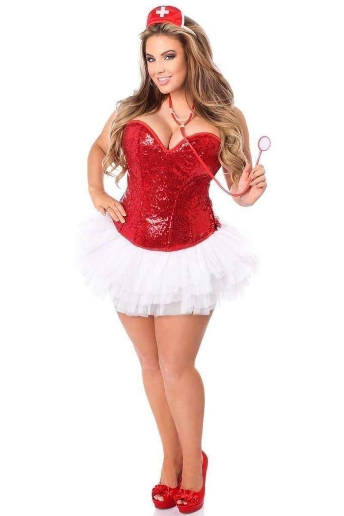 Daisy Top Drawer 4 PC Sequin Nurse Corset Costume-Costumes-Daisy Corsets-Unspoken Fashion
