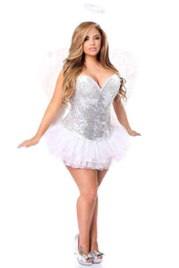 Daisy Top Drawer 4 PC Silver Sequin Angel Corset Costume-Costumes-Daisy Corsets-Unspoken Fashion