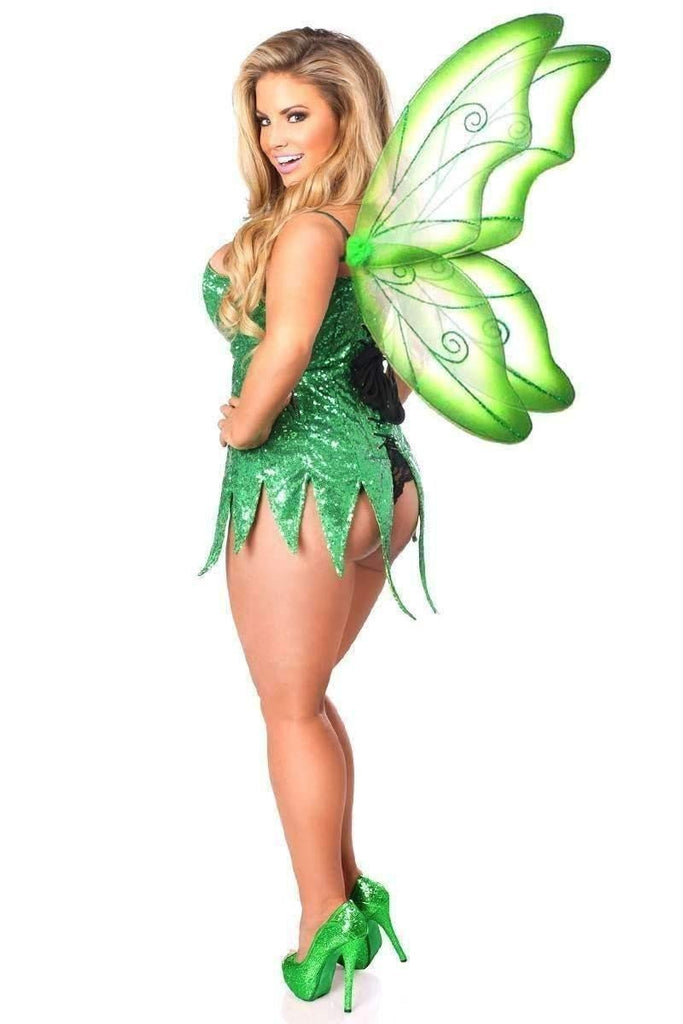 Daisy Top Drawer Green Sequin Fairy Corset Dress Costume-Costumes-Daisy Corsets-Unspoken Fashion