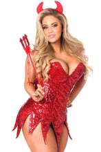 Load image into Gallery viewer, Daisy Top Drawer Red Sequin Devil Corset Dress Costume-Costumes-Daisy Corsets-Unspoken Fashion