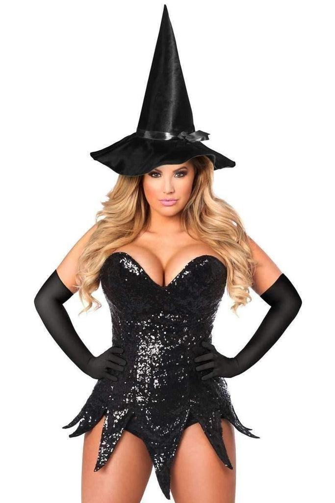 Daisy Top Drawer Sequin Witch Corset Dress Costume-Costumes-Daisy Corsets-S-Black-Unspoken Fashion