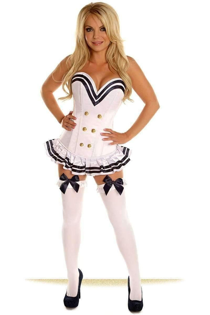 Daisy Top Drawer White Navy Officer Overbust Steel Boned Corset Costume-Costumes-Daisy Corsets-Unspoken Fashion