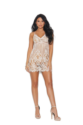 Elegant Moments Eyelash Lace Chemise-Chemises-Elegant Moments-BLUSH-1X-Unspoken Fashion