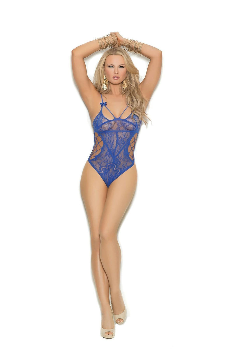 Elegant Moments Lace Teddy W/ Cut Out Detail-Teddies-Elegant Moments-ROYAL BLUE-O/S-Unspoken Fashion