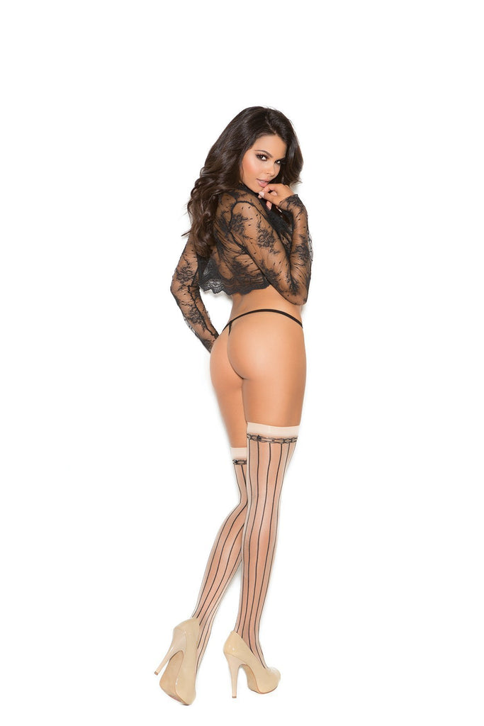 Elegant Moments Pin Striped Thigh Hi W/Bow-Hosiery-Elegant Moments-NUDE/BLACK-O/S-Unspoken Fashion