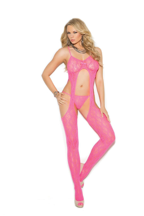 Elegant Moments Susp. Bodystocking W/ G-String-Body Stockings-Elegant Moments-NEON PINK-O/S-Unspoken Fashion