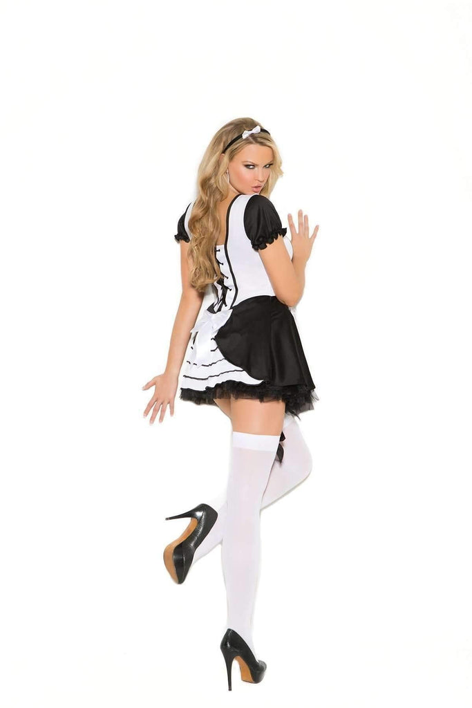 EM1708 Opaque Thigh-Hi Hosiery - Elegant Moments-Costume Accessories-Elegant Moments-One Size-White/Black-Unspoken Fashion