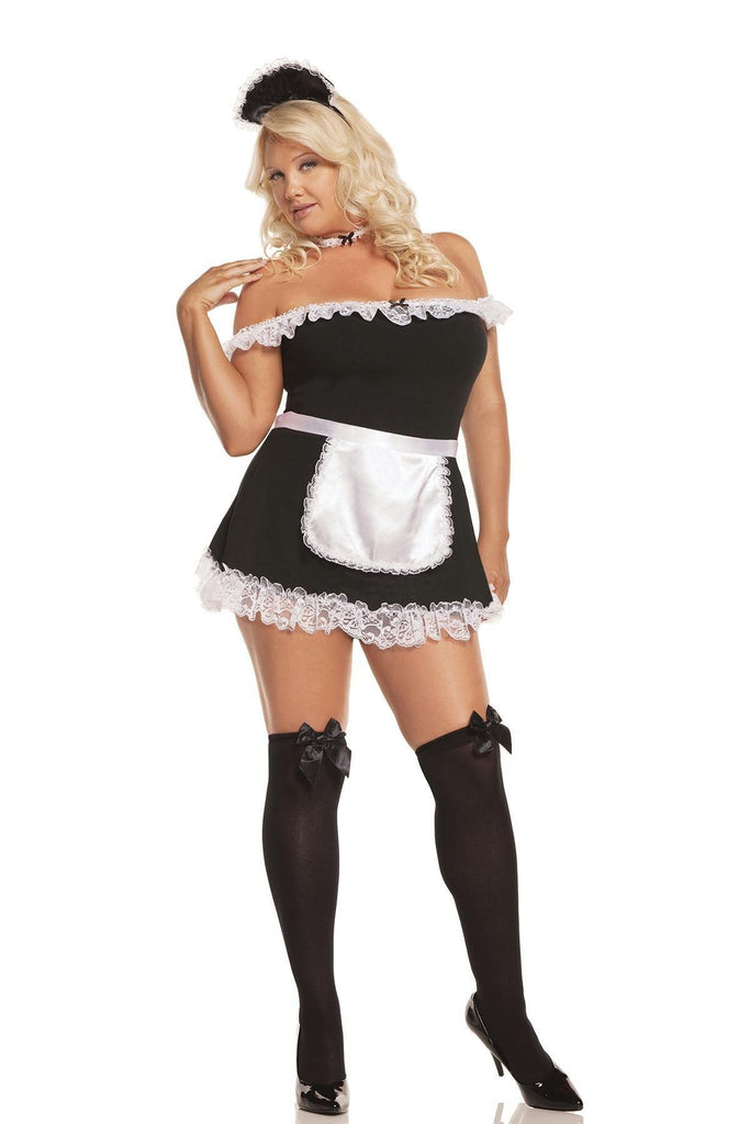 EM9395X Sexy Maid Costume - Elegant Moments-Costumes-Elegant Moments-1X/2X-Black-Unspoken Fashion