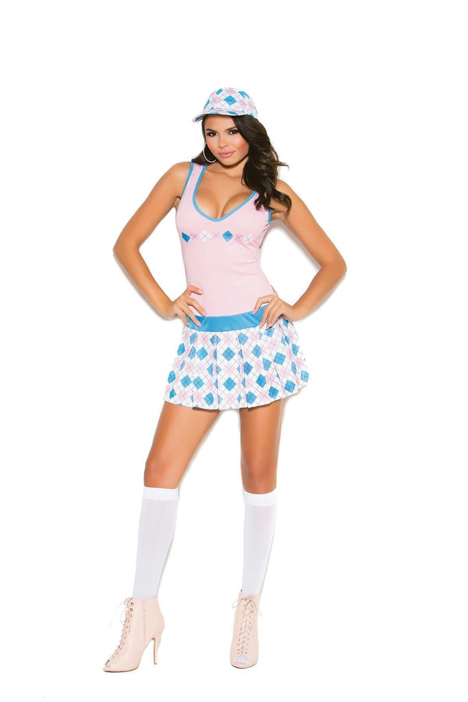 EM99003 Golf Tease Costume - Elegant Moments-Costumes-Elegant Moments-S-Baby Pink/Plaid-Unspoken Fashion