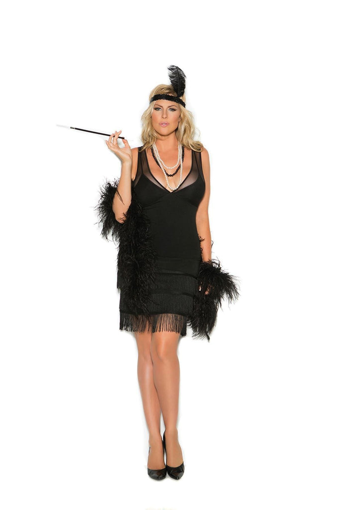 EM99051 Flapper Costume - Elegant Moments-Costumes-Elegant Moments-1X/2X-Black-Unspoken Fashion
