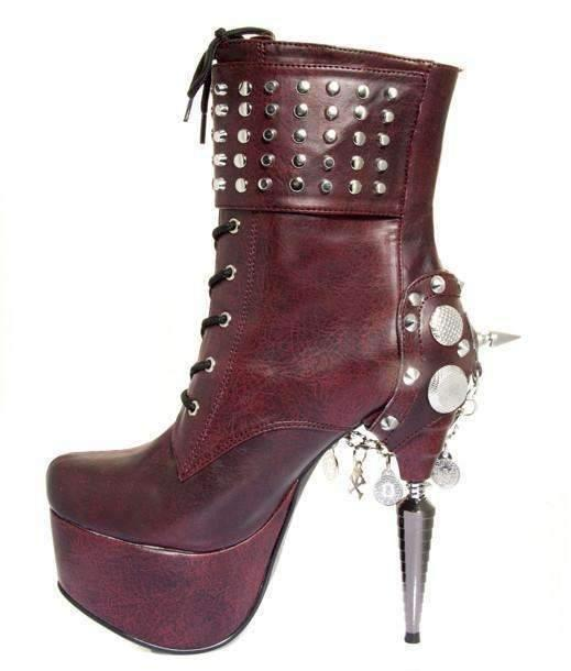 Hades Alternative Shoes Artemis Burgundy Boots-Boots-Hades Alternative Shoes-Unspoken Fashion