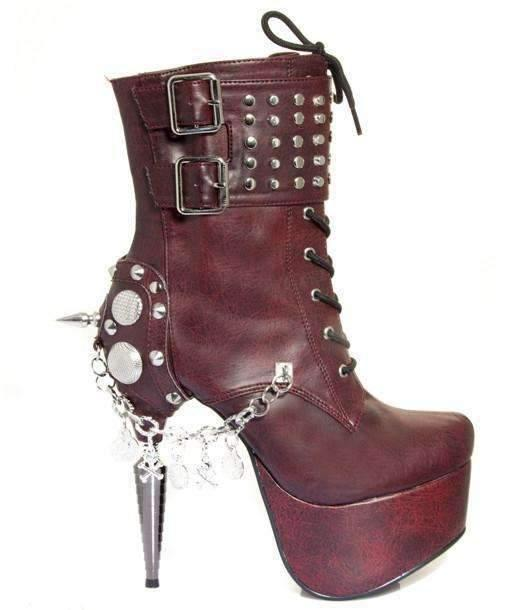 Hades Alternative Shoes Artemis Burgundy Boots-Boots-Hades Alternative Shoes-6-Burgundy-Unspoken Fashion
