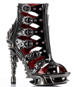 Hades Alternative Shoes Crimson Black High Heels-High Heels-Hades Alternative Shoes-Unspoken Fashion