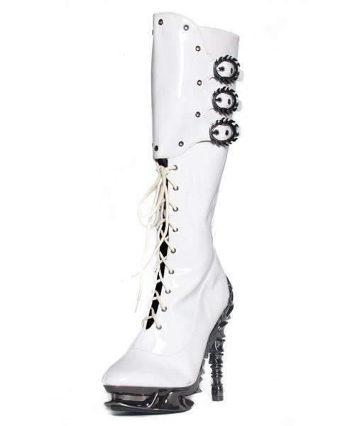 Hades Alternative Shoes Hyperion White Boots-Boots-Hades Alternative Shoes-6-White-Unspoken Fashion