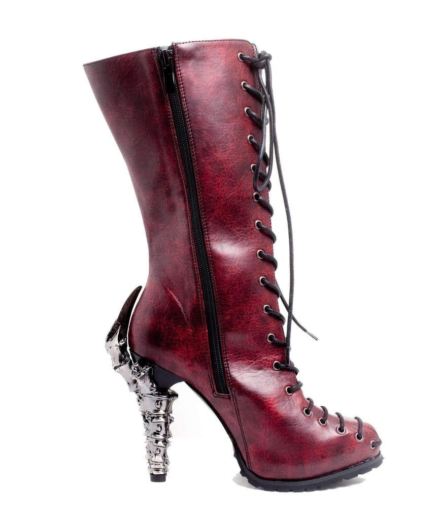 Hades Alternative Shoes Pyra Burgundy Boots-Boots-Hades Alternative Shoes-Unspoken Fashion