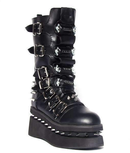 Hades Alternative Shoes Stetchen Black Boots-Boots-Hades Alternative Shoes-6-Black-Unspoken Fashion
