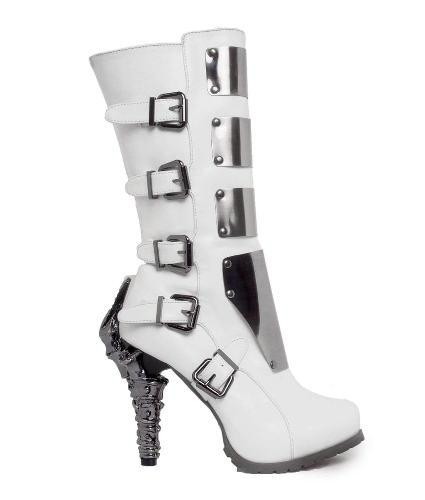 Hades Alternative Shoes Varga White Boots-Boots-Hades Alternative Shoes-Unspoken Fashion