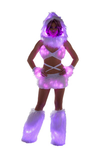 Rave FF430 Light Up Infinity Hood - J Valentine-Rave Accessories-J Valentine-White/Pink-ONE SIZE-Unspoken Fashion