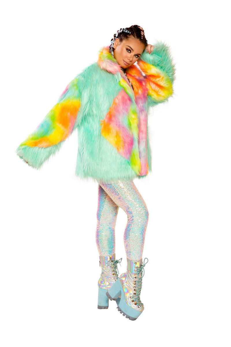 Rave FF937 - DIAMOND FAUX FUR COAT - J Valentine-Rave Coats & Dusters-J Valentine-Small/Medium-Malibu/Sherbet-Unspoken Fashion