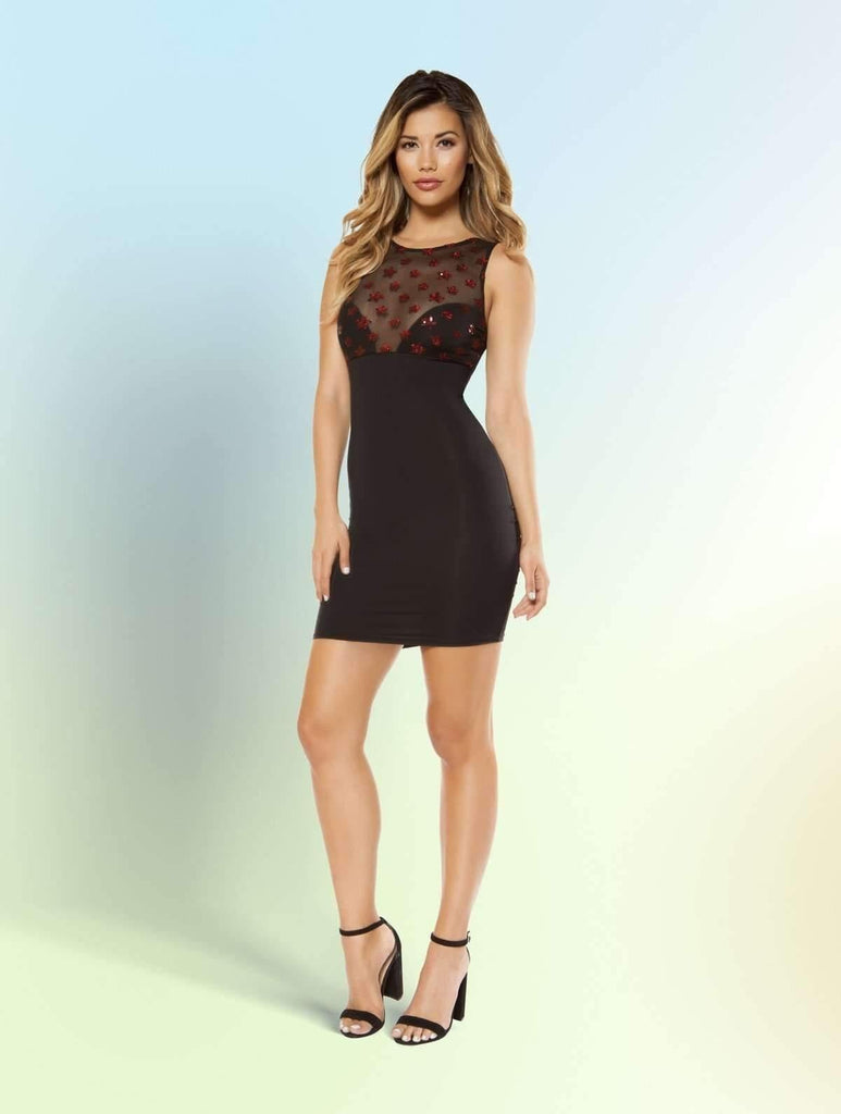 Roma 3364 Dress with Star Shaped Glitter Sheer Mesh Top-Mini and Maxi Dresses-Roma-Small-Black-Unspoken Fashion